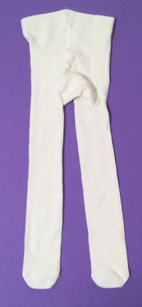 12 Girls Cream Tights 7-8 year (128cm) only 40p
