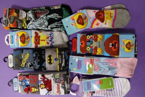 New Product 10 mixed character2 pack socks £1.00 each