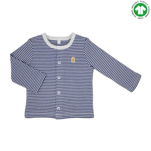14 baby long sleeved blue striped long sleeved cardigans organic cotton
