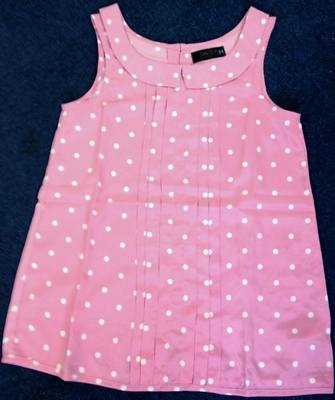 21 Ladies Pink Ruffle Front Sleeveless Spotty Tops