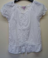 4 Ex Store White Frilly Front Girl's Tops Flat Packed