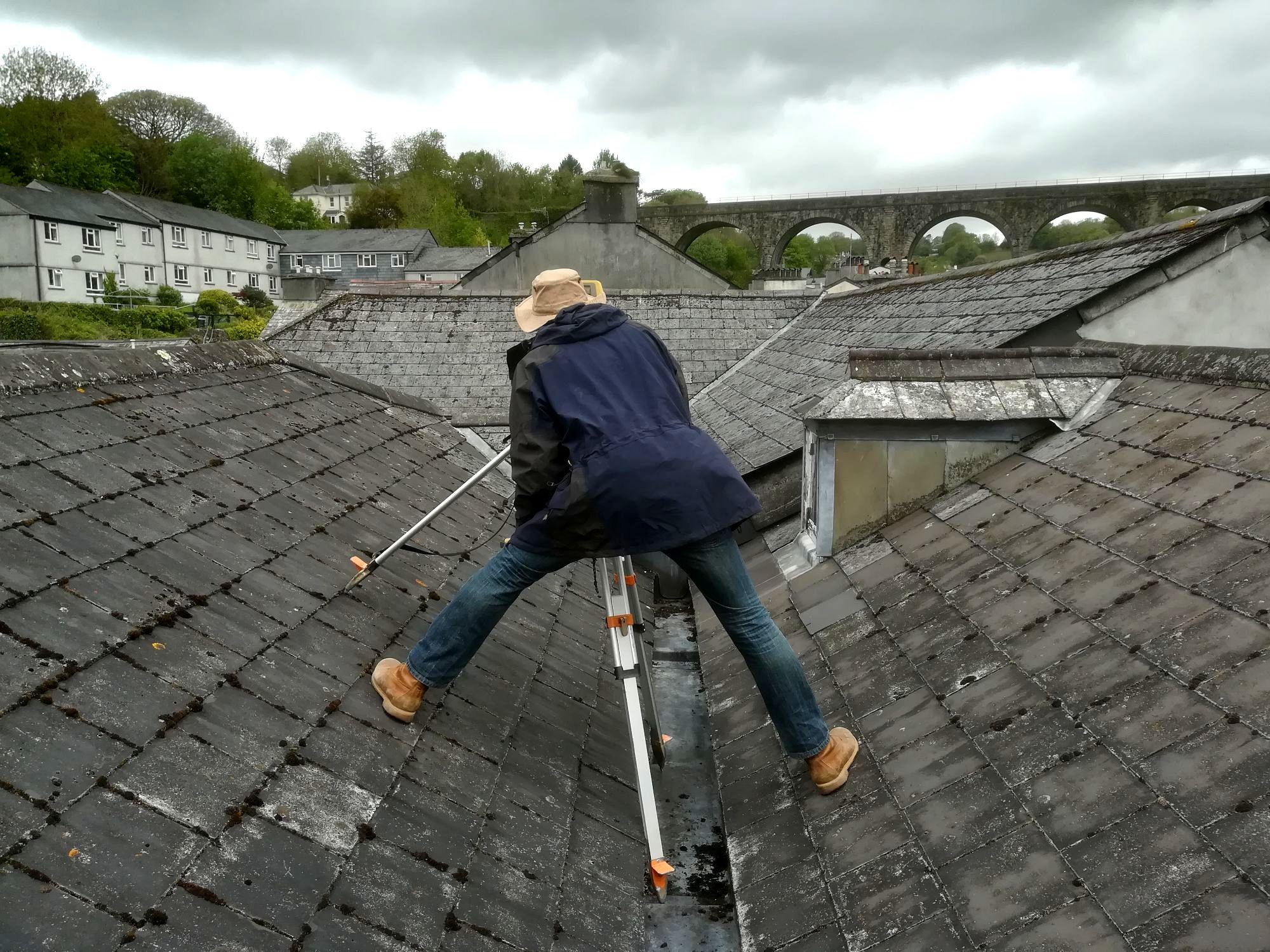 Surveying a roof in Tavistock, Devon