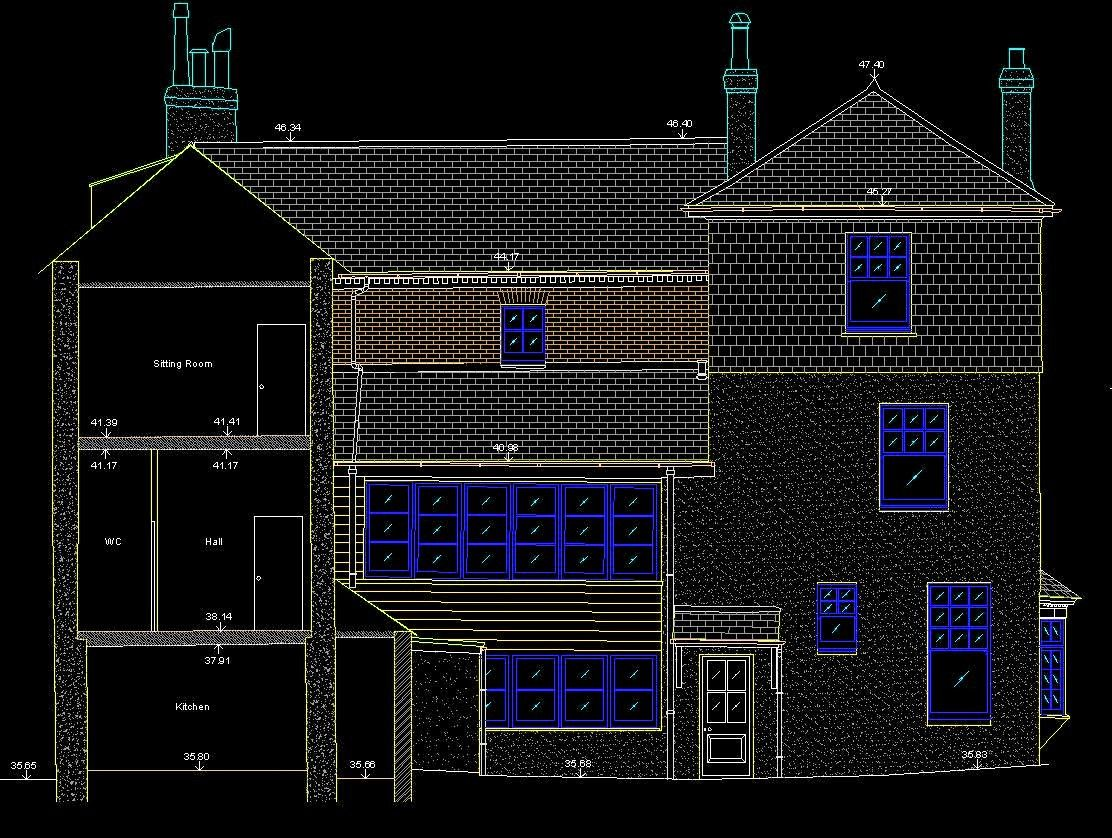Section Elevation of Historic manor house, cornwall