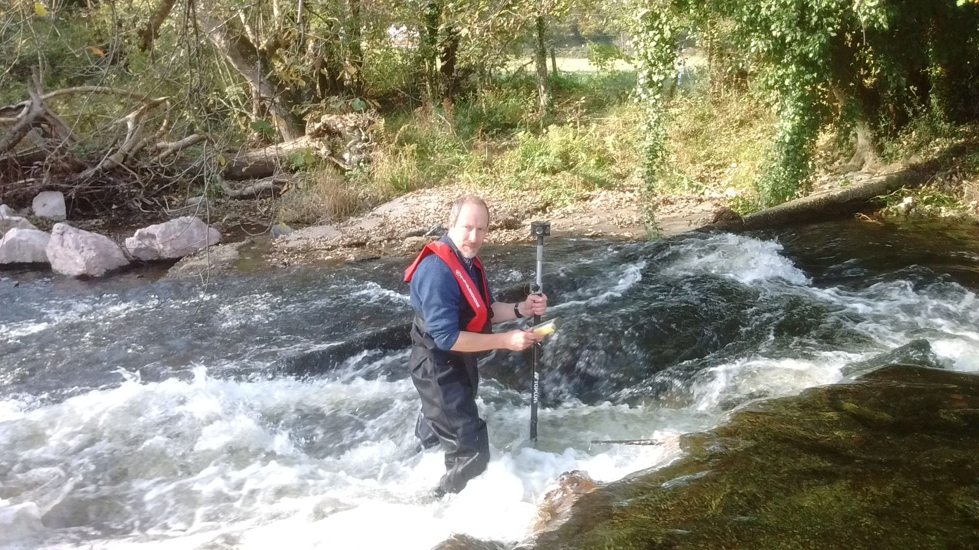 Level survey of river weir in Devon