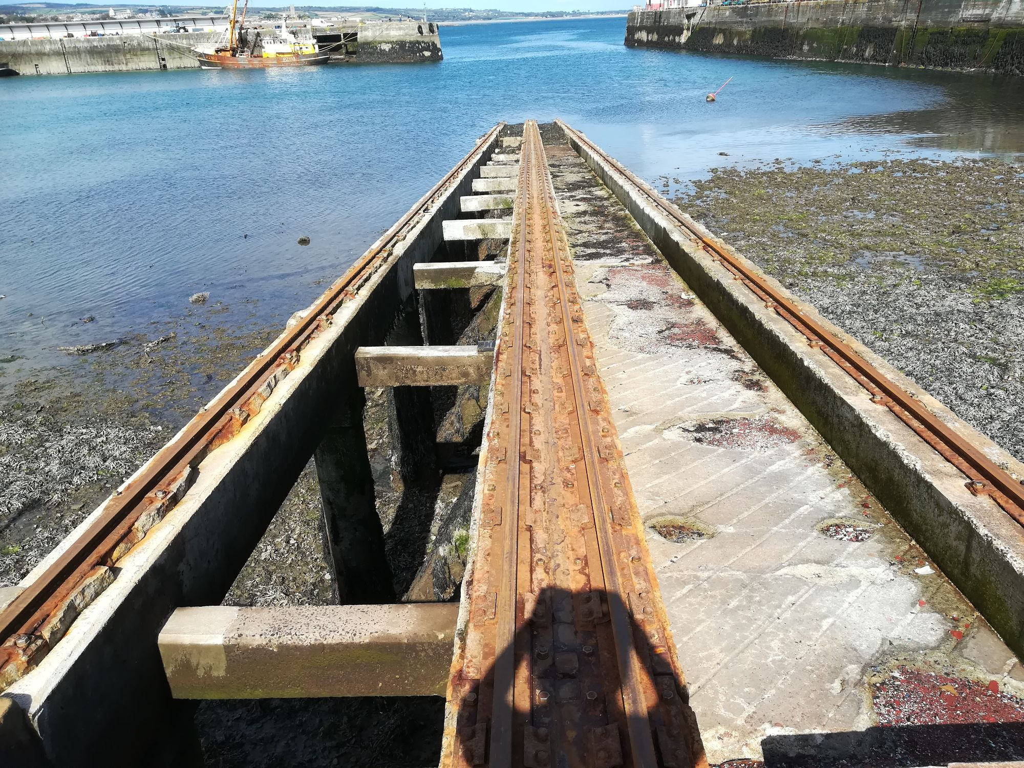 Level survey of slipway rails near Penzance, Cornwall
