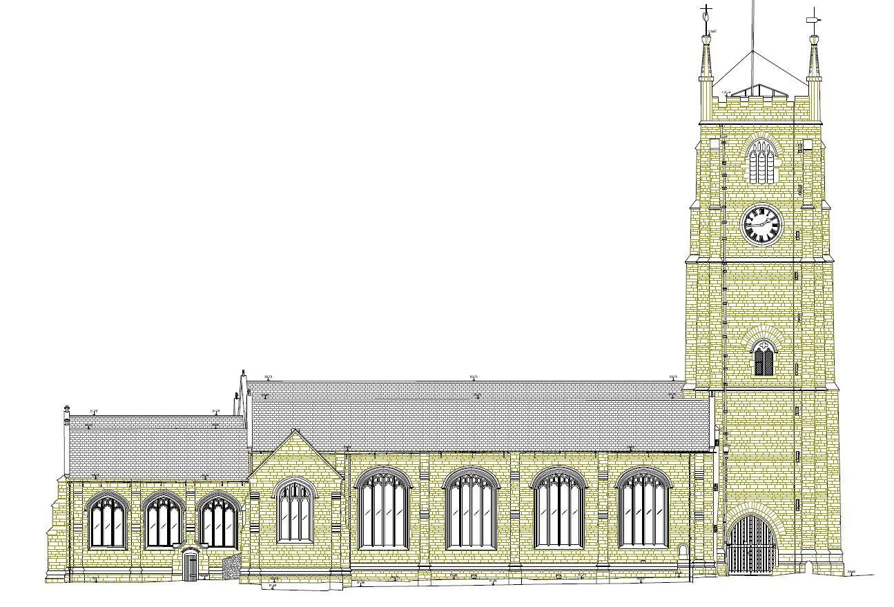 St Eustachius Church, Tavistock, measured elevation