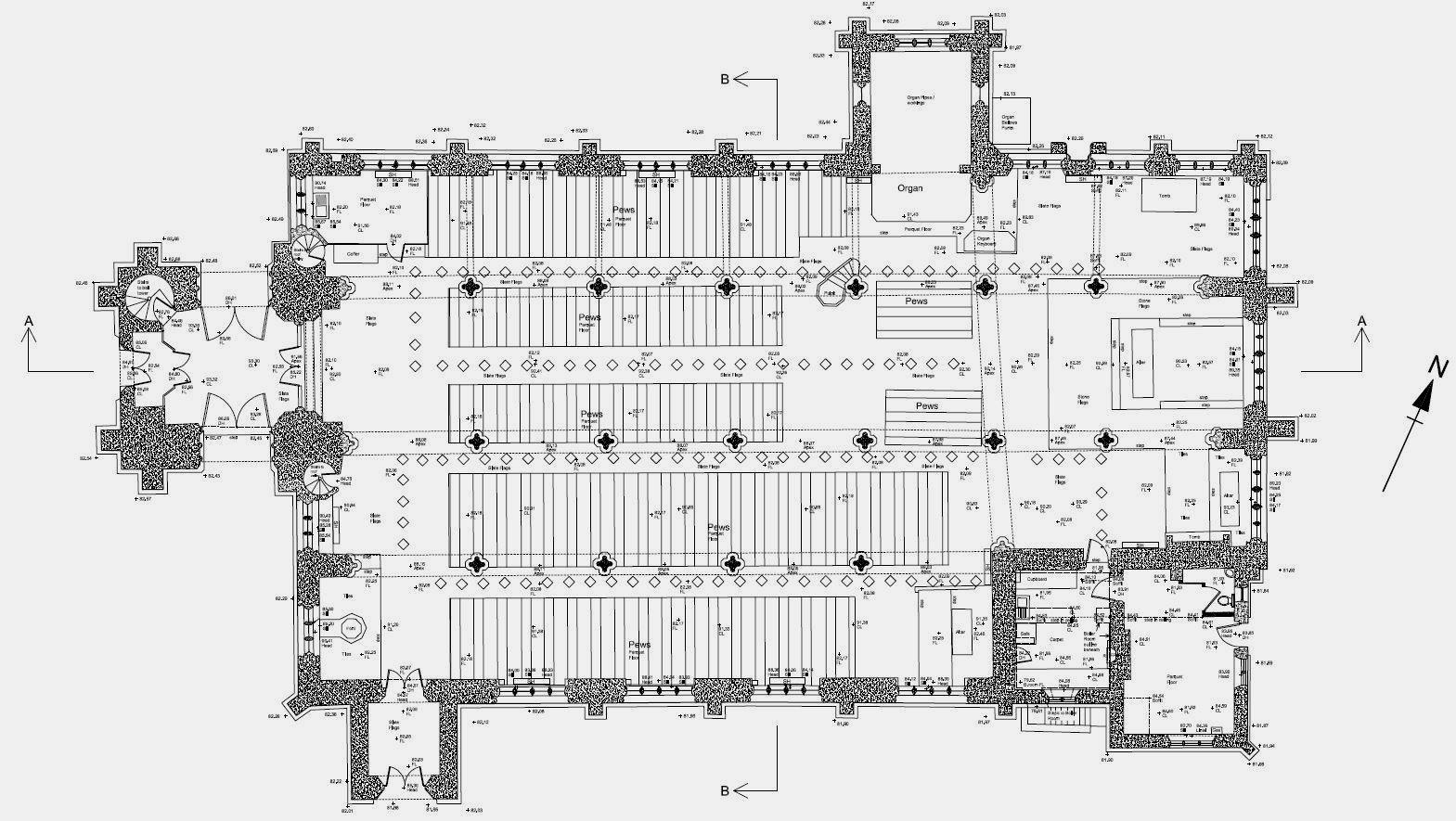 Church floor plan, Tavistock, Devon