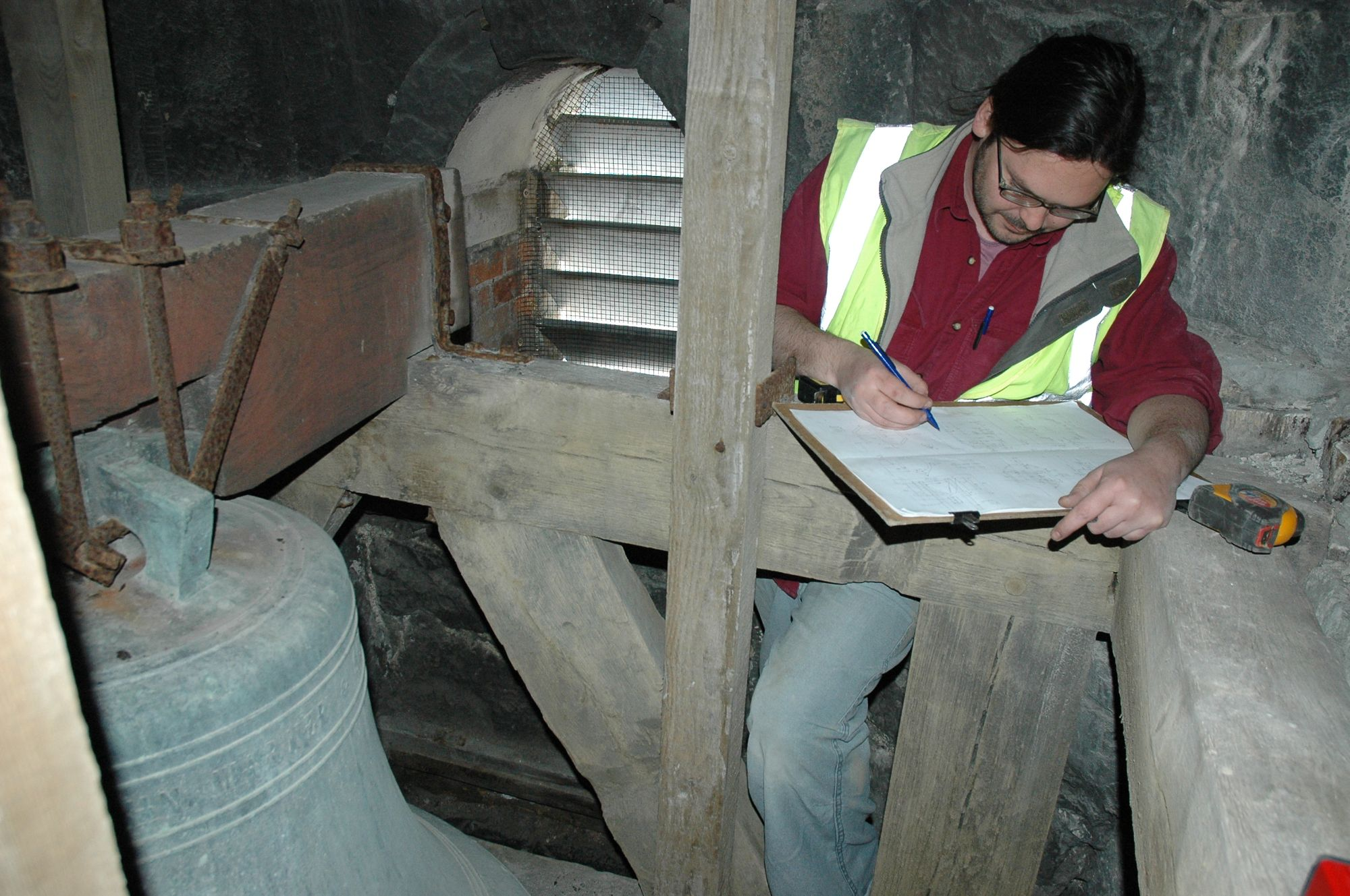 Measuring up the tower at St Aubyn's Church, Plymouth, Devon