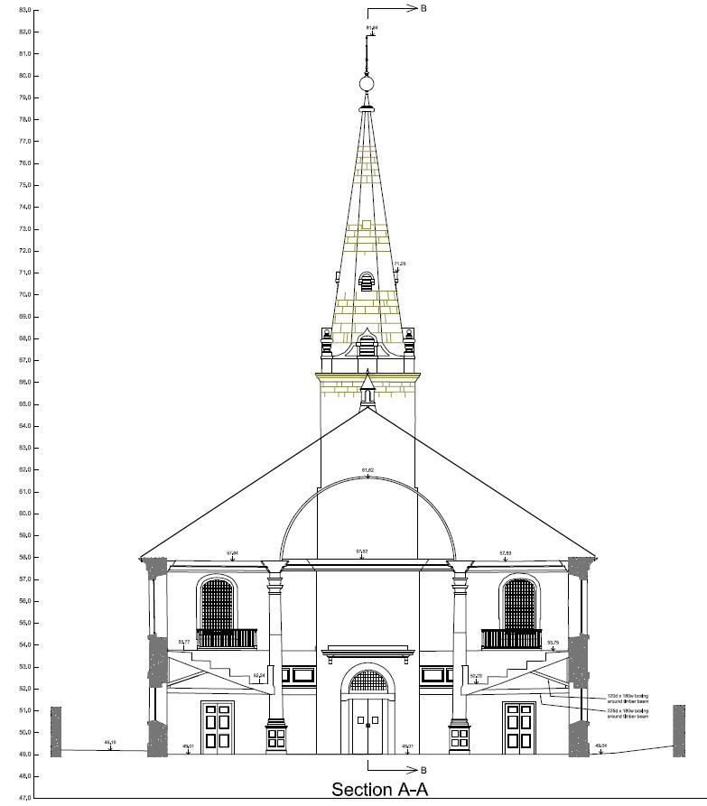Measured Building Survey cross section, Plymouth, Devon