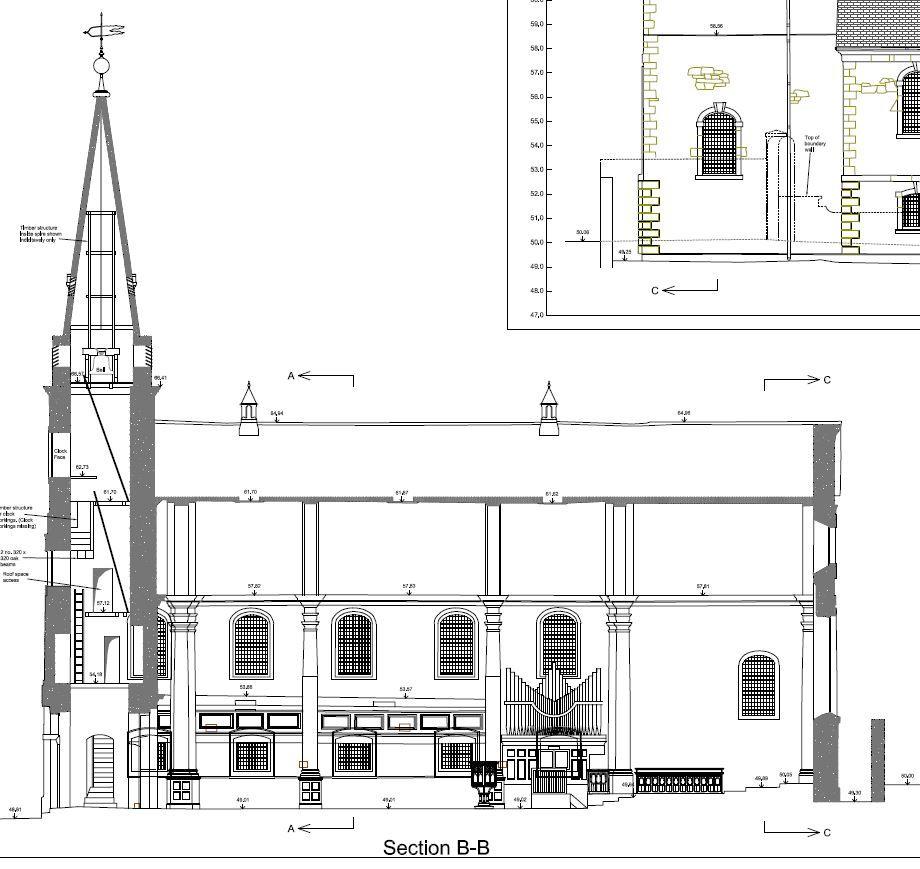 Long section through a Church in Plymouth, Devon