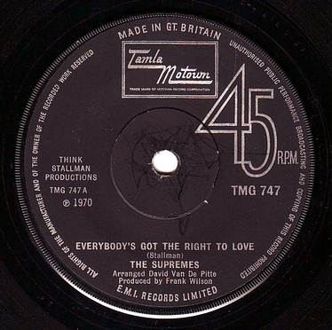 SUPREMES - EVERYBODY'S GOT THE RIGHT TO LOVE - TMG 747