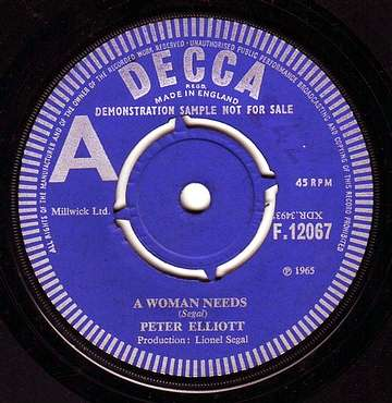 PETER ELLIOTT - A WOMAN NEEDS - DECCA DEMO