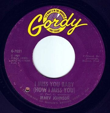 MARV JOHNSON - I MISS YOU BABY - GORDY