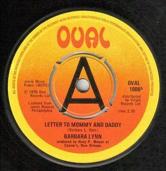 BARBARA LYNN - LETTER TO MOMMY AND DADDY - OVAL