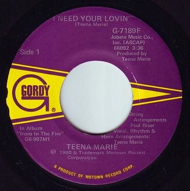 TEENA MARIE - I NEED YOUR LOVIN' - GORDY