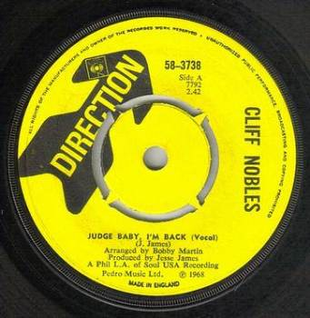 CLIFF NOBLES - JUDGE BABY I'M BACK - DIRECTION