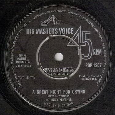 JOHNNY MATHIS - A GREAT NIGHT FOR CRYING - HMV