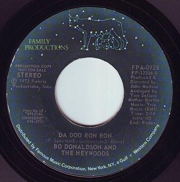 BO DONALDSON & THE HEYWOODS - DA DOO RON RON - FAMILY PRODUCTIONS DEMO