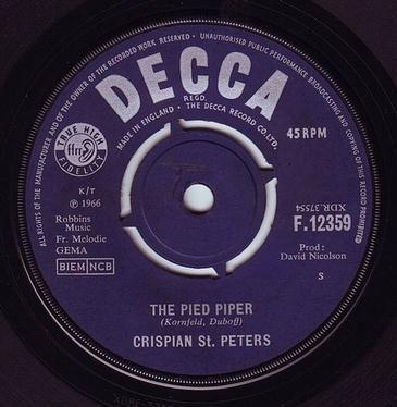 CRISPIAN St. PETERS - THE PIED PIPER - DECCA