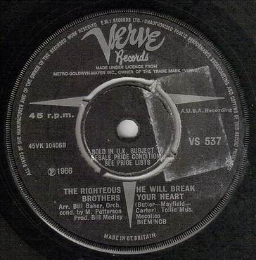 RIGHTEOUS BROTHERS - HE WILL BREAK YOUR HEART - VERVE