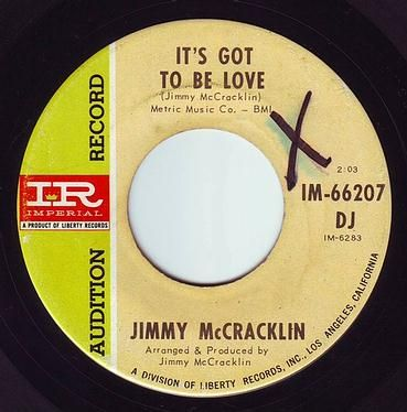 JIMMY McCRACKLIN - IT'S GOT TO BE LOVE - IMPERIAL DEMO