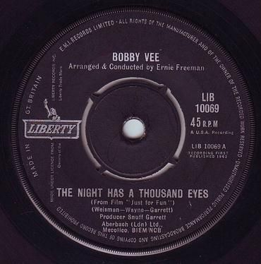 BOBBY VEE - THE NIGHT HAS A THOUSAND EYES - LIBERTY