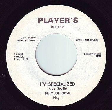 BILLY JOE ROYAL - I'M SPECIALIZED - PLAYER'S DEMO