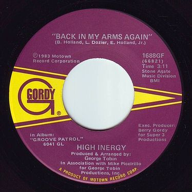 HIGH INERGY - BACK IN MY ARMS AGAIN - GORDY
