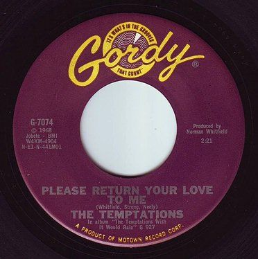 TEMPTATIONS - PLEASE RETURN YOUR LOVE TO ME - GORDY