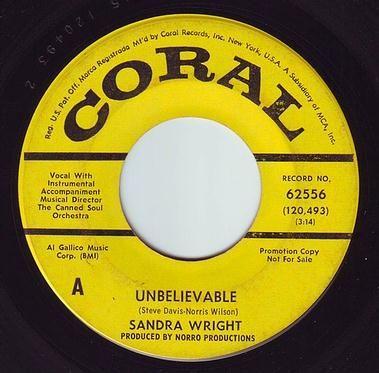 SANDRA WRIGHT - UNBELIEVABLE - CORAL DEMO