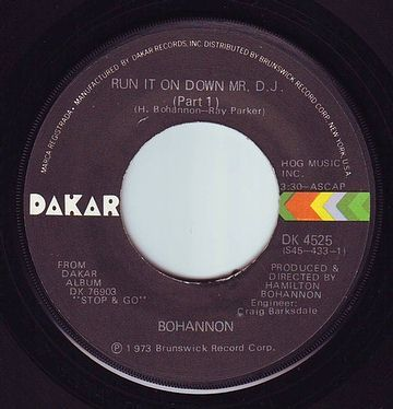 BOHANNON - RUN IT ON DOWN MR. DJ - DAKAR