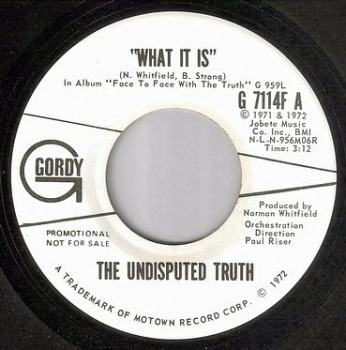 UNDISPUTED TRUTH - WHAT IT IS - GORDY DJ