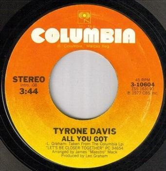 TYRONE DAVIS - ALL YOU GOT - COLUMBIA