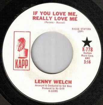LENNY WELCH - IF YOU REALLY LOVE ME - KAPP dj