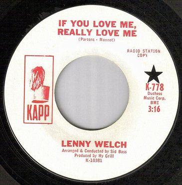 LENNY WELCH - IF YOU REALLY LOVE ME - KAPP dj