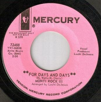 MONTI ROCK III - FOR DAYS AND DAYS - MERCURY dj