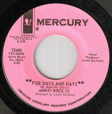 MONTI ROCK III - FOR DAYS AND DAYS - MERCURY dj