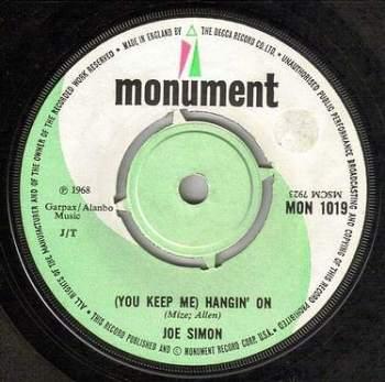 JOE SIMON - (YOU KEEP ME) HANGIN' ON - MONUMENT