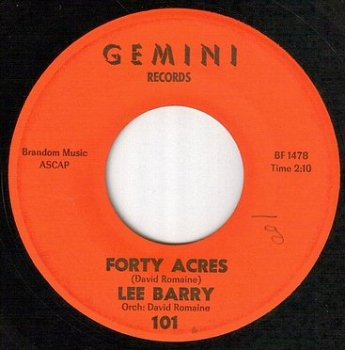 LEE BARRY - FORTY ACRES - GEMINI