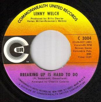 LENNY WELCH - BREAKING UP IS HARD TO DO - CUR