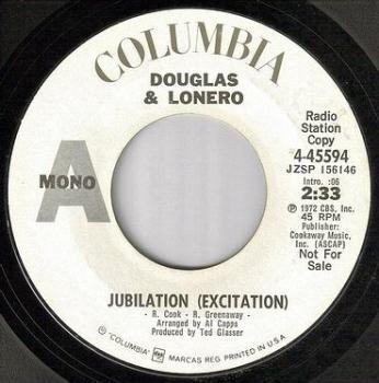 DOUGLAS & LONERO - JUBILATION (EXCITATION) - COLUMBIA dj