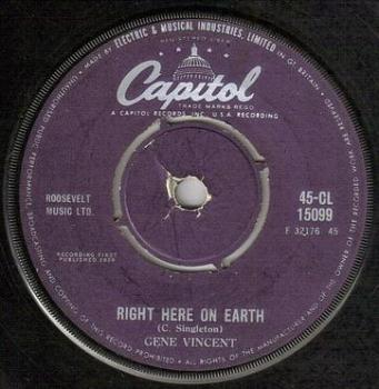 GENE VINCENT - RIGHT HERE ON EARTH - CAPITOL