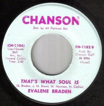 EVALENE BRADEN - THAT'S WHAT SOUL IS - CHANSON