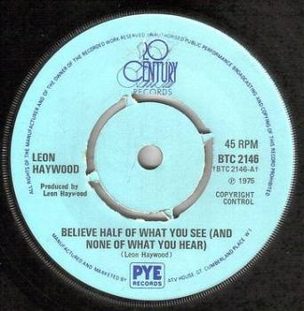 LEON HAYWOOD - BELIEVE HALF OF WHAT YOU SEE - 20TH CENTURY