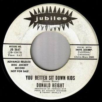 DONALD HEIGHT - YOU BETTER SIT DOWN KIDS - JUBILEE DEMO