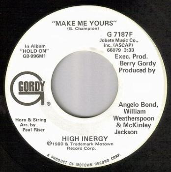 HIGH INERGY - MAKE ME YOURS - GORDY DEMO