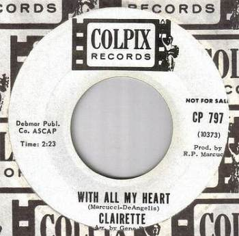 CLAIRETTE - WITH ALL MY HEART - COLPIX dj