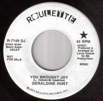 GERALDINE HUNT - YOU BROUGHT JOY - ROULETTE DEMO