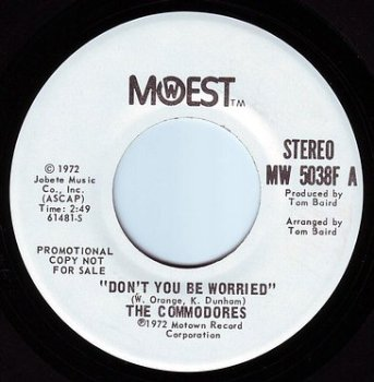 COMMODORES - DON'T YOU BE WORRIED - MOWEST DEMO