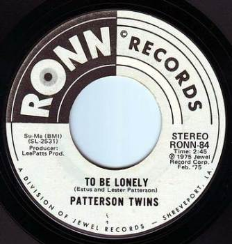 PATTERSON TWINS - TO BE LONELY - RONN DEMO